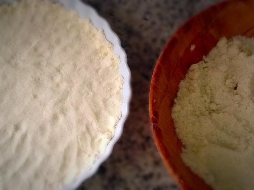 Açúcar, Farinha e manteiga formam a farofa. Crumble.